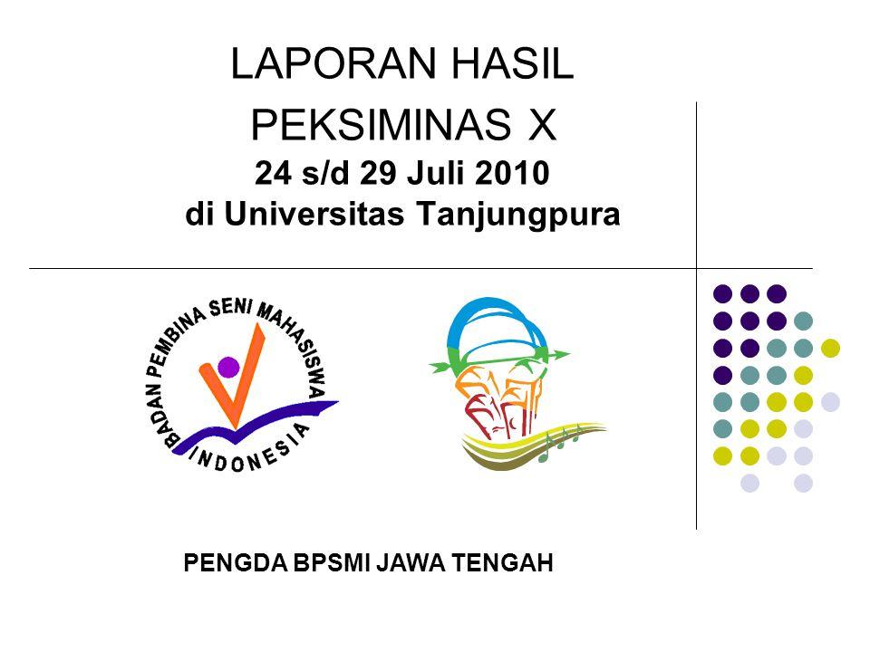 LAPORAN HASIL PEKSIMINAS X 24 s/d 29 Juli 2010 di Universitas Tanjungpura PENGDA BPSMI JAWA TENGAH