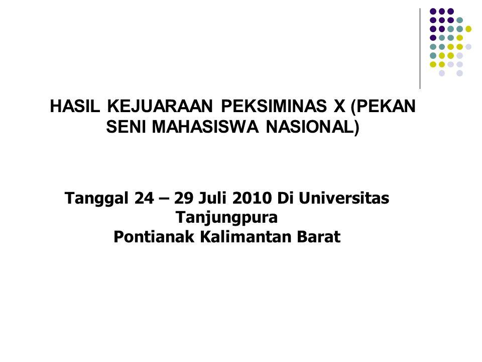 HASIL KEJUARAAN PEKSIMINAS X (PEKAN SENI MAHASISWA NASIONAL) Tanggal 24 – 29 Juli 2010 Di Universitas Tanjungpura Pontianak Kalimantan Barat