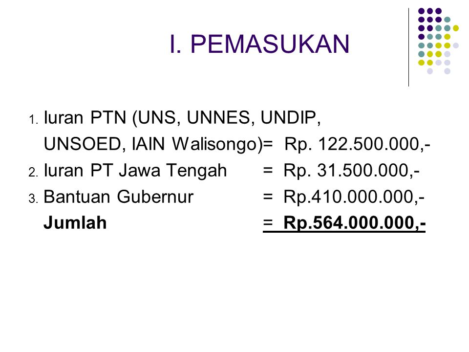 II.PENGELUARAN 1. Sekretariat = Rp. 5.000.000,- 2.