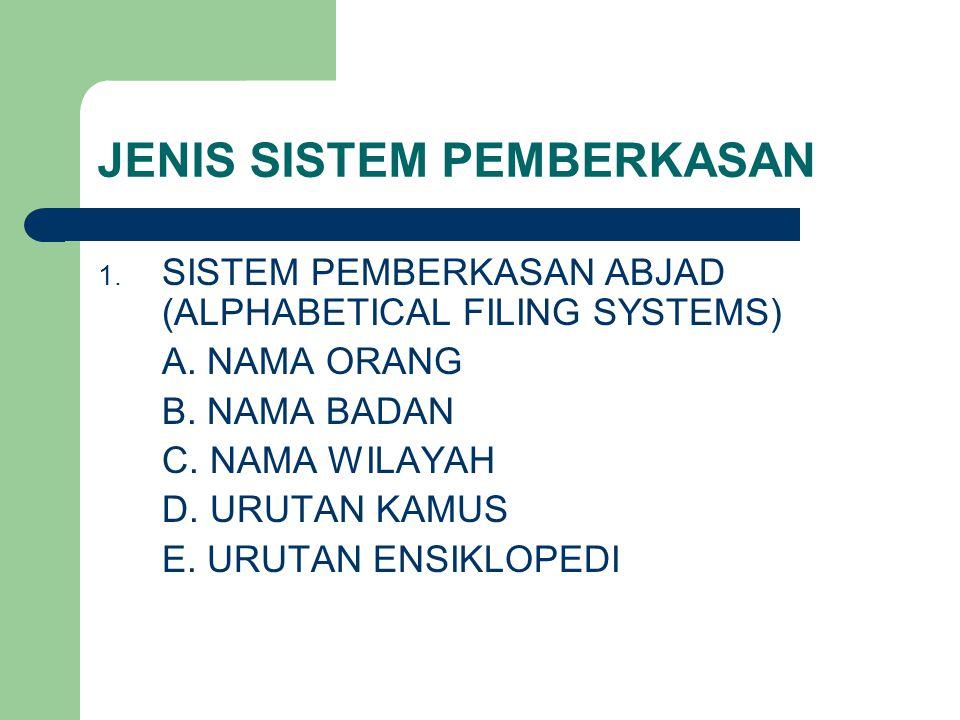 JENIS SISTEM PEMBERKASAN 1.SISTEM PEMBERKASAN ABJAD (ALPHABETICAL FILING SYSTEMS) A.