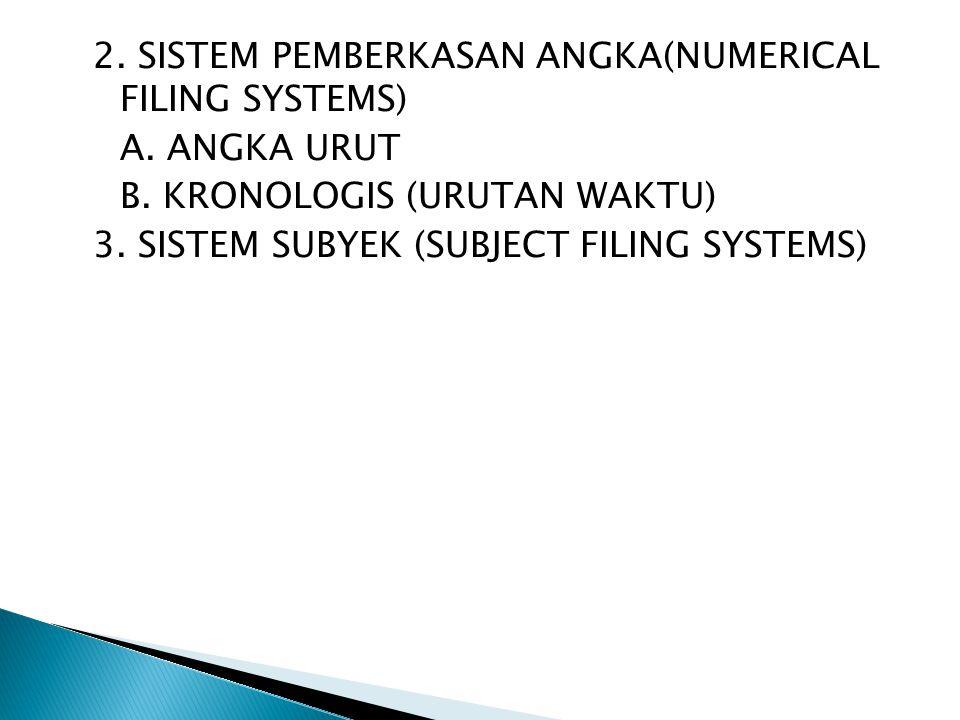 2.SISTEM PEMBERKASAN ANGKA(NUMERICAL FILING SYSTEMS) A.