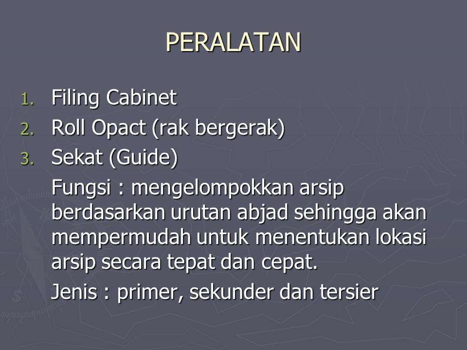 PERALATAN 1.Filing Cabinet 2. Roll Opact (rak bergerak) 3.