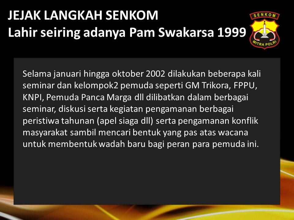 Jejak Langkah Senkom 26 Juni 2004 Apel Peringatan Hari Anti-narkoba Sedunia 2004 1 Juli 2004 Apel Peringatan Hari Bhayangkara ke-58.