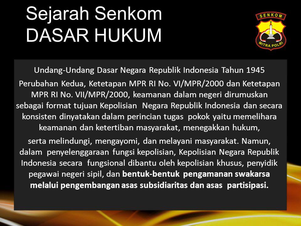 Sejarah Senkom DASAR HUKUM Undang-Undang Dasar Negara Republik Indonesia Tahun 1945 Perubahan Kedua, Ketetapan MPR RI No.
