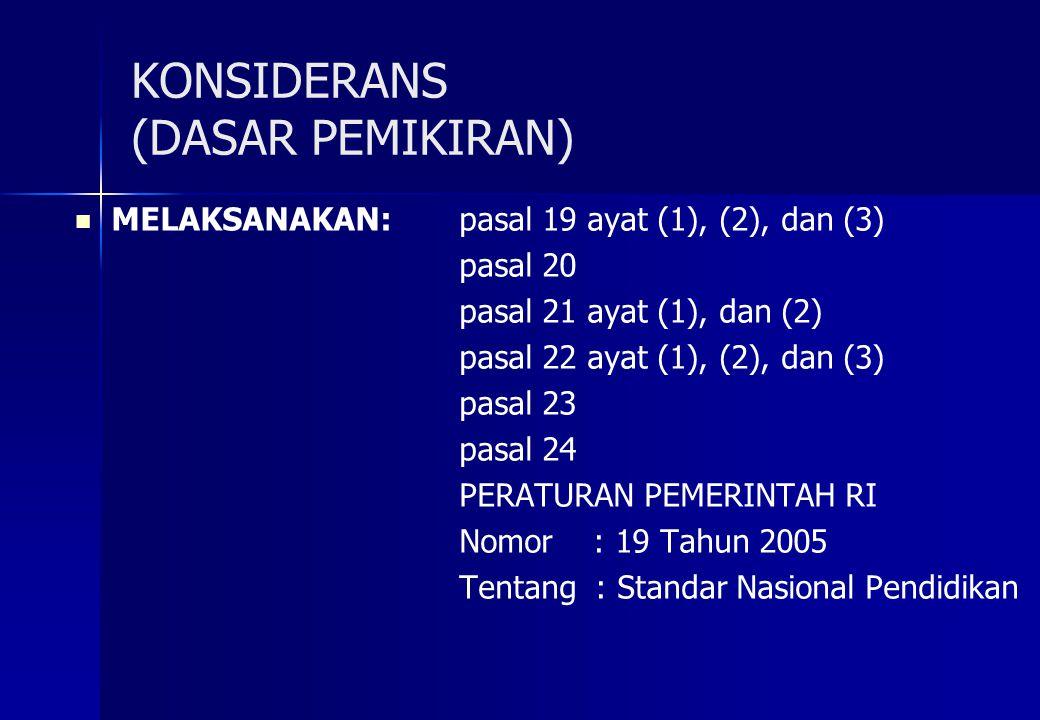 KONSIDERANS (DASAR PEMIKIRAN) MELAKSANAKAN: pasal 19 ayat (1), (2), dan (3) pasal 20 pasal 21 ayat (1), dan (2) pasal 22 ayat (1), (2), dan (3) pasal 23 pasal 24 PERATURAN PEMERINTAH RI Nomor : 19 Tahun 2005 Tentang : Standar Nasional Pendidikan