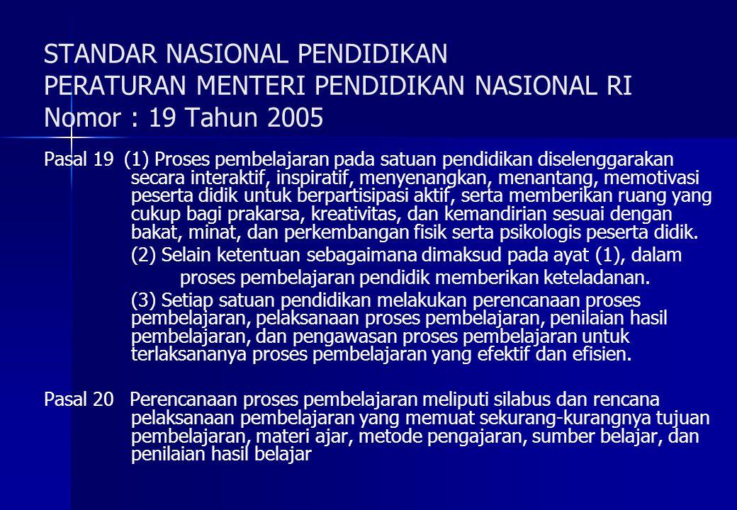 STANDAR NASIONAL PENDIDIKAN PERATURAN MENTERI PENDIDIKAN NASIONAL RI Nomor : 19 Tahun 2005 Pasal 19(1) Proses pembelajaran pada satuan pendidikan dise