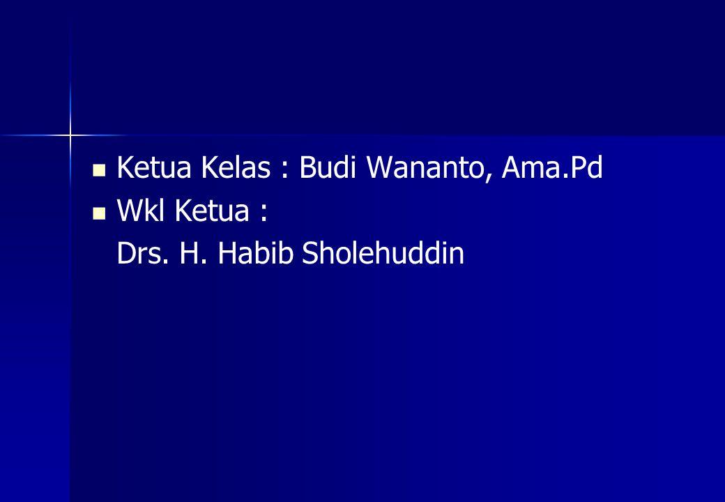 Ketua Kelas : Budi Wananto, Ama.Pd Wkl Ketua : Drs. H. Habib Sholehuddin