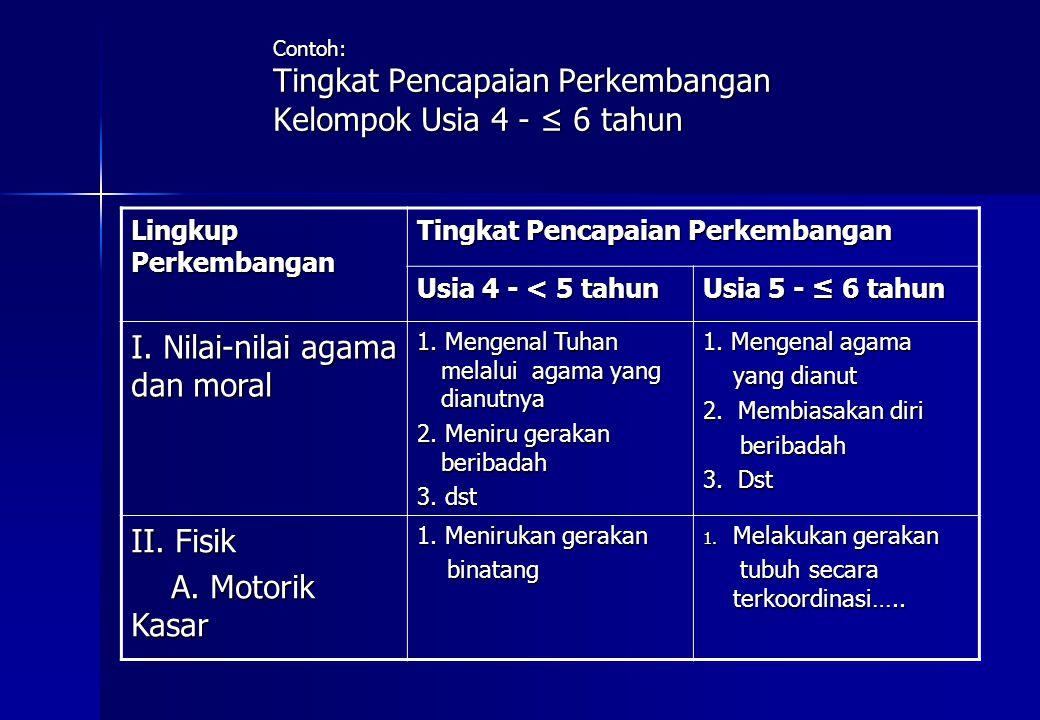 Contoh: Tingkat Pencapaian Perkembangan Kelompok Usia 4 - ≤ 6 tahun Lingkup Perkembangan Tingkat Pencapaian Perkembangan Usia 4 - < 5 tahun Usia 5 - ≤