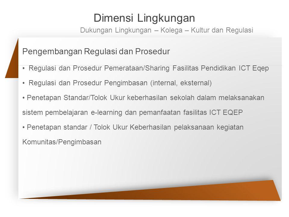 Pengembangan Regulasi dan Prosedur Regulasi dan Prosedur Pemerataan/Sharing Fasilitas Pendidikan ICT Eqep Regulasi dan Prosedur Pengimbasan (internal,