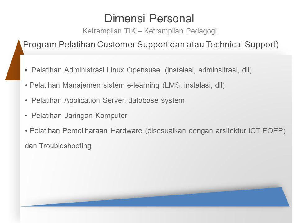 Program Pelatihan Customer Support dan atau Technical Support) Pelatihan Administrasi Linux Opensuse (instalasi, adminsitrasi, dll) Pelatihan Manajeme