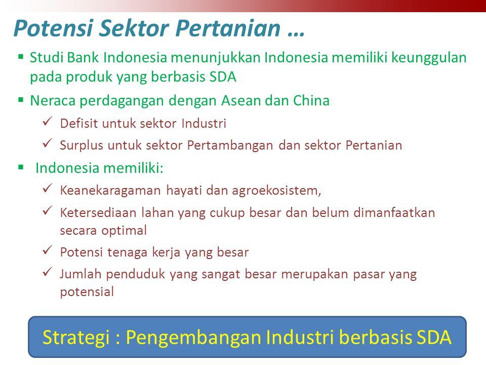 Potensi Sektor Pertanian …  Studi Bank Indonesia menunjukkan Indonesia memiliki keunggulan pada produk yang berbasis SDA  Neraca perdagangan dengan Asean dan China Defisit untuk sektor Industri Surplus untuk sektor Pertambangan dan sektor Pertanian  Indonesia memiliki: Keanekaragaman hayati dan agroekosistem, Ketersediaan lahan yang cukup besar dan belum dimanfaatkan secara optimal Potensi tenaga kerja yang besar Jumlah penduduk yang sangat besar merupakan pasar yang potensial Strategi : Pengembangan Industri berbasis SDA