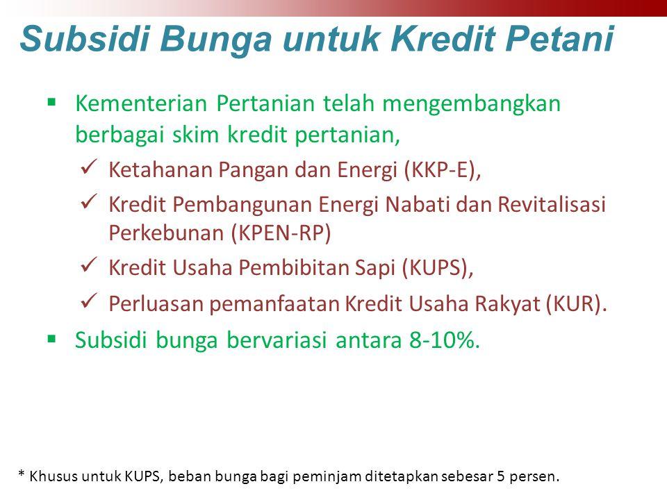 Subsidi Bunga untuk Kredit Petani  Kementerian Pertanian telah mengembangkan berbagai skim kredit pertanian, Ketahanan Pangan dan Energi (KKP-E), Kre