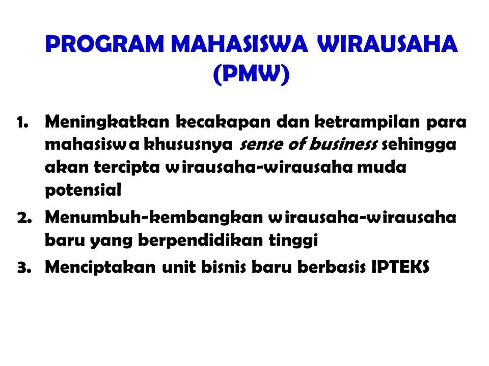 PROGRAM MAHASISWA WIRAUSAHA (PMW) 1.Meningkatkan kecakapan dan ketrampilan para mahasiswa khususnya sense of business sehingga akan tercipta wirausaha-wirausaha muda potensial 2.Menumbuh-kembangkan wirausaha-wirausaha baru yang berpendidikan tinggi 3.Menciptakan unit bisnis baru berbasis IPTEKS