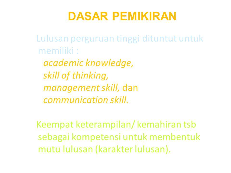 DASAR PEMIKIRAN Lulusan perguruan tinggi dituntut untuk memiliki : academic knowledge, skill of thinking, management skill, dan communication skill.