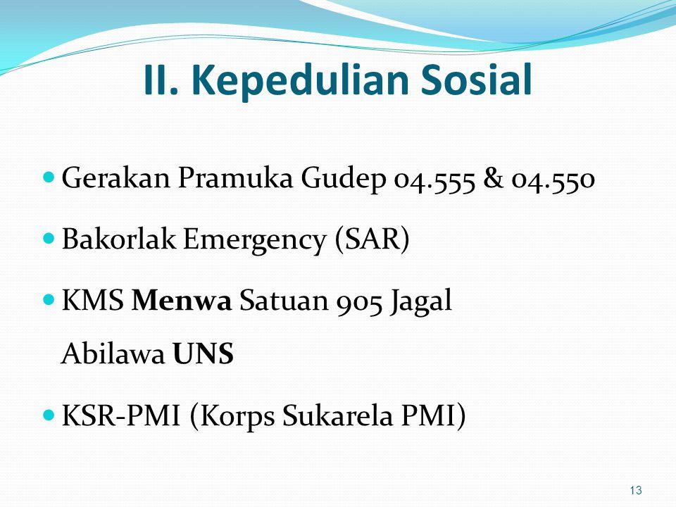 II. Kepedulian Sosial Gerakan Pramuka Gudep 04.555 & 04.550 Bakorlak Emergency (SAR) KMS Menwa Satuan 905 Jagal Abilawa UNS KSR-PMI (Korps Sukarela PM