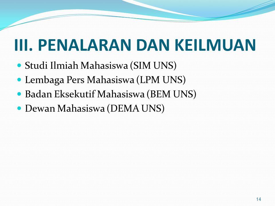 III. PENALARAN DAN KEILMUAN Studi Ilmiah Mahasiswa (SIM UNS) Lembaga Pers Mahasiswa (LPM UNS) Badan Eksekutif Mahasiswa (BEM UNS) Dewan Mahasiswa (DEM