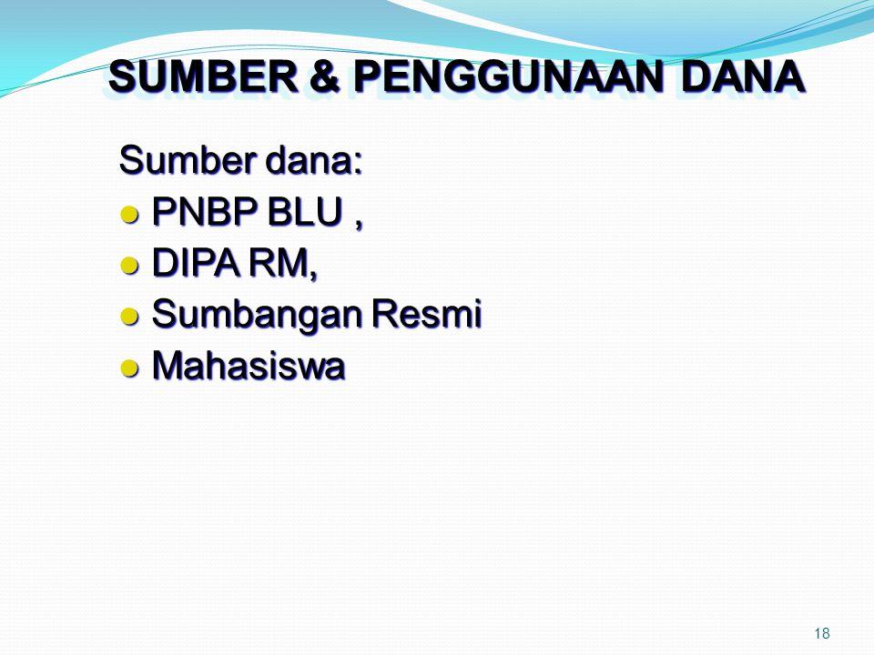 18 SUMBER & PENGGUNAAN DANA Sumber dana: PNBP BLU, PNBP BLU, DIPA RM, DIPA RM, Sumbangan Resmi Sumbangan Resmi Mahasiswa Mahasiswa