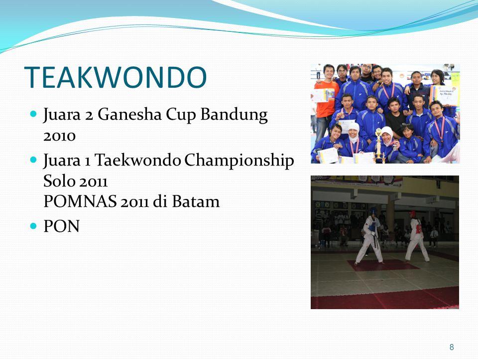 TEAKWONDO Juara 2 Ganesha Cup Bandung 2010 Juara 1 Taekwondo Championship Solo 2011 POMNAS 2011 di Batam PON 8