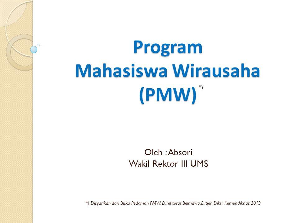 Program Mahasiswa Wirausaha (PMW) Oleh : Absori Wakil Rektor III UMS *) Disyarikan dari Buku Pedoman PMW, Direktorat Belmawa, Ditjen Dikti, Kemendikna