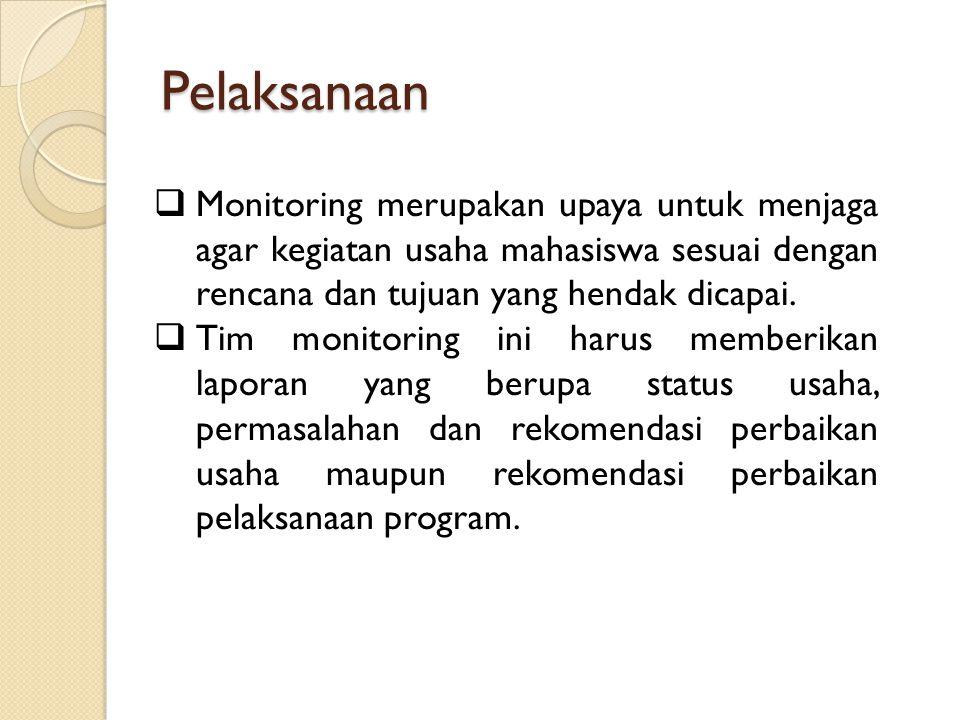 Pelaksanaan  Monitoring merupakan upaya untuk menjaga agar kegiatan usaha mahasiswa sesuai dengan rencana dan tujuan yang hendak dicapai.  Tim monit