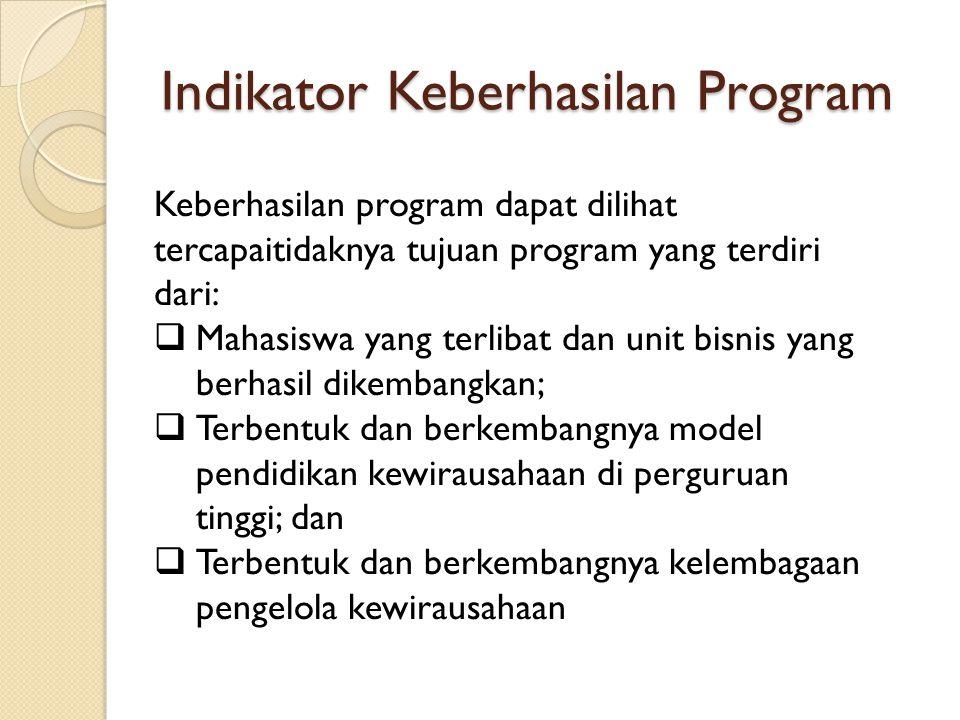 Indikator Keberhasilan Program Keberhasilan program dapat dilihat tercapaitidaknya tujuan program yang terdiri dari:  Mahasiswa yang terlibat dan uni