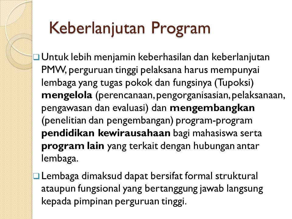 Keberlanjutan Program  Untuk lebih menjamin keberhasilan dan keberlanjutan PMW, perguruan tinggi pelaksana harus mempunyai lembaga yang tugas pokok d