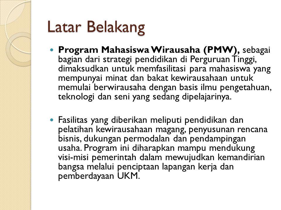 Latar Belakang Program Mahasiswa Wirausaha (PMW), sebagai bagian dari strategi pendidikan di Perguruan Tinggi, dimaksudkan untuk memfasilitasi para ma