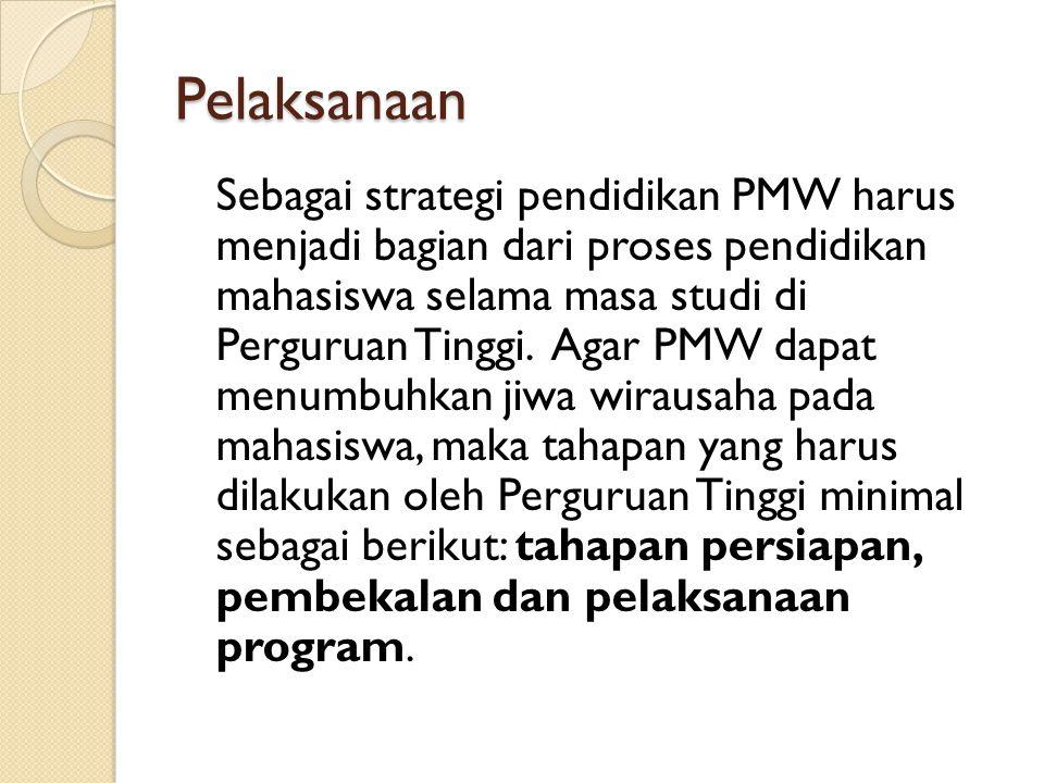 Pelaksanaan Sebagai strategi pendidikan PMW harus menjadi bagian dari proses pendidikan mahasiswa selama masa studi di Perguruan Tinggi. Agar PMW dapa