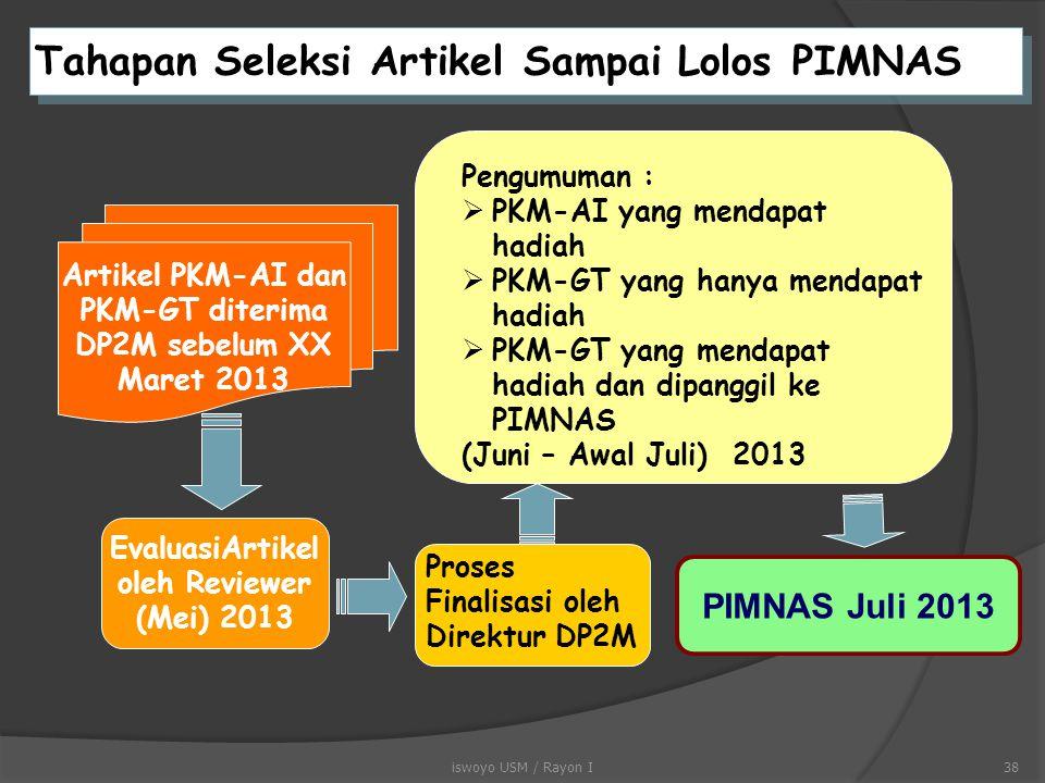 Tahapan Seleksi Proposal Sampai Lolos PIMNAS Proposal PKM diterima DP2M sebelum -NOV 12 Seleksi Proposal oleh Reviewer (Des 12) Pengumuman Proposal ya