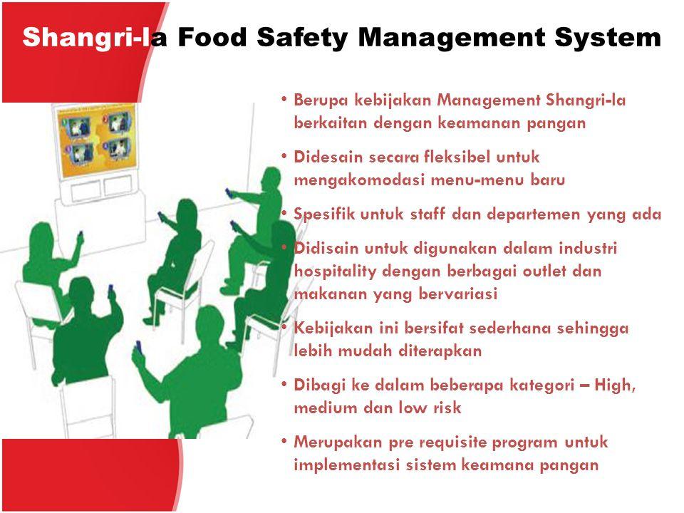 Shangri-la Food Safety Management System Berupa kebijakan Management Shangri-la berkaitan dengan keamanan pangan Didesain secara fleksibel untuk menga