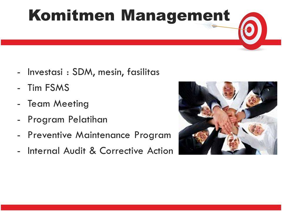 -Investasi : SDM, mesin, fasilitas -Tim FSMS -Team Meeting -Program Pelatihan -Preventive Maintenance Program -Internal Audit & Corrective Action Komi