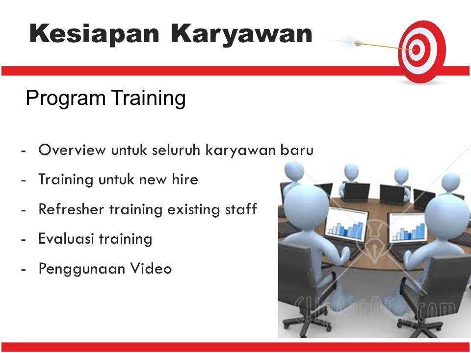 Kesiapan Karyawan Program Training -Overview untuk seluruh karyawan baru -Training untuk new hire -Refresher training existing staff -Evaluasi trainin