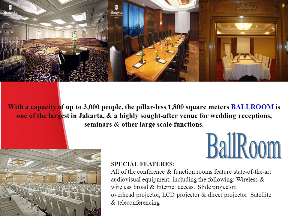 With a capacity of up to 3,000 people, the pillar-less 1,800 square meters BALLROOM is one of the largest in Jakarta, & a highly sought-after venue fo