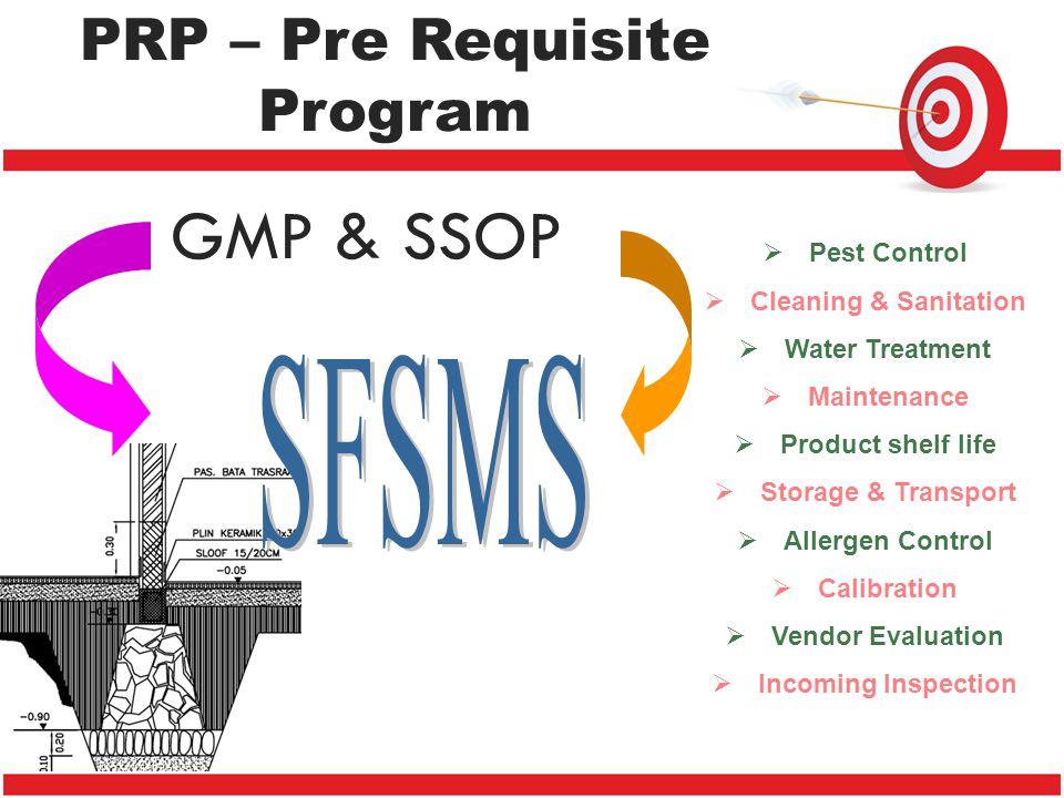 PRP – Pre Requisite Program GMP & SSOP  Pest Control  Cleaning & Sanitation  Water Treatment  Maintenance  Product shelf life  Storage & Transpo