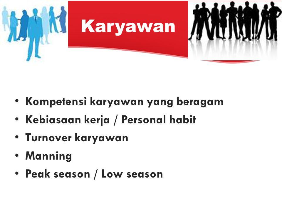 Karyawan Kompetensi karyawan yang beragam Kebiasaan kerja / Personal habit Turnover karyawan Manning Peak season / Low season