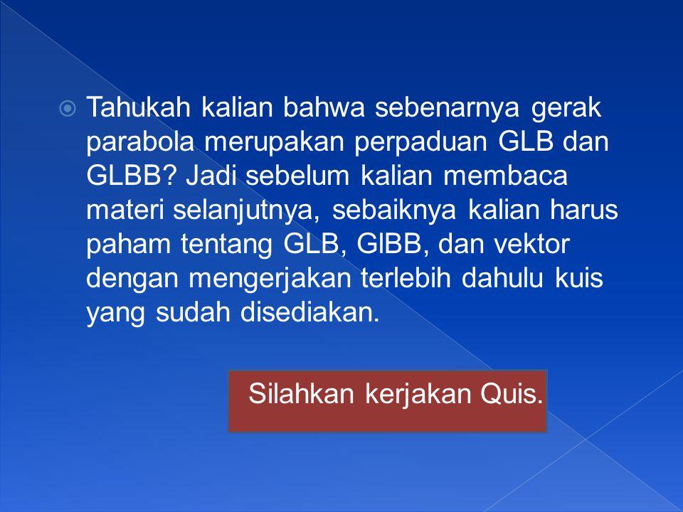  Tahukah kalian bahwa sebenarnya gerak parabola merupakan perpaduan GLB dan GLBB.
