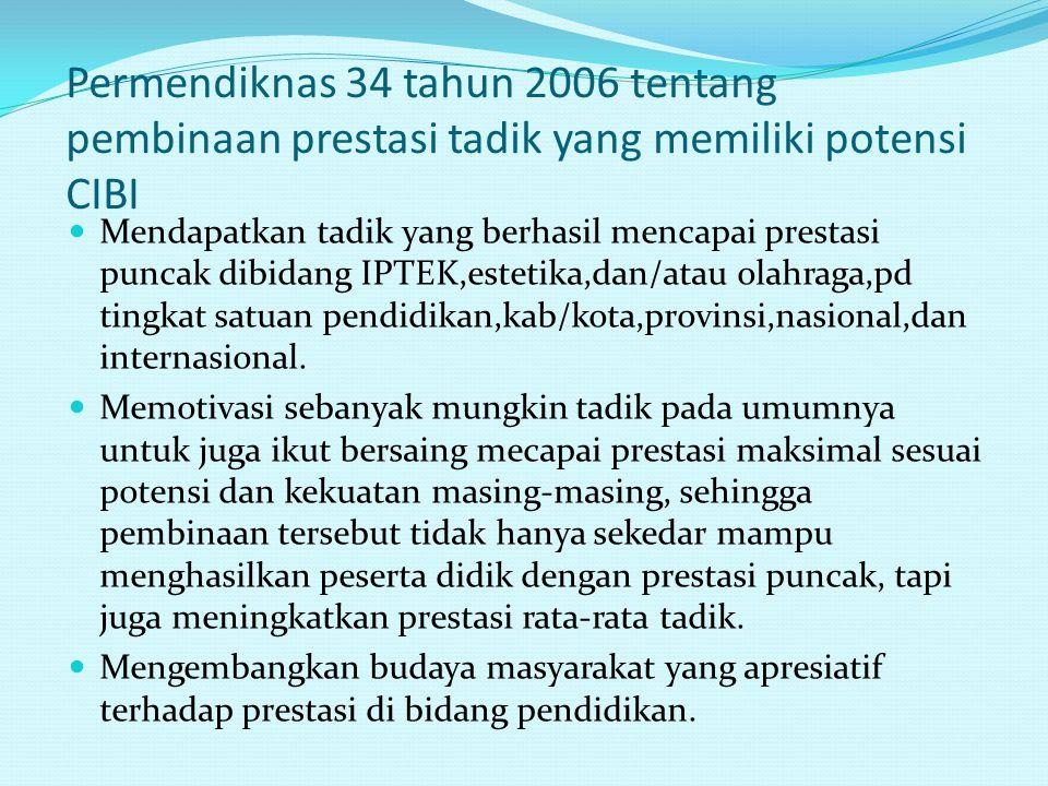 Permendiknas 34 tahun 2006 tentang pembinaan prestasi tadik yang memiliki potensi CIBI Mendapatkan tadik yang berhasil mencapai prestasi puncak dibida