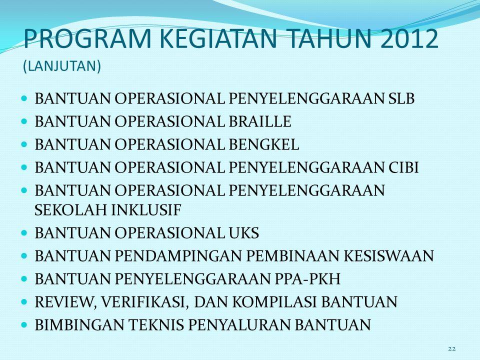 PROGRAM KEGIATAN TAHUN 2012 (LANJUTAN) BANTUAN OPERASIONAL PENYELENGGARAAN SLB BANTUAN OPERASIONAL BRAILLE BANTUAN OPERASIONAL BENGKEL BANTUAN OPERASI