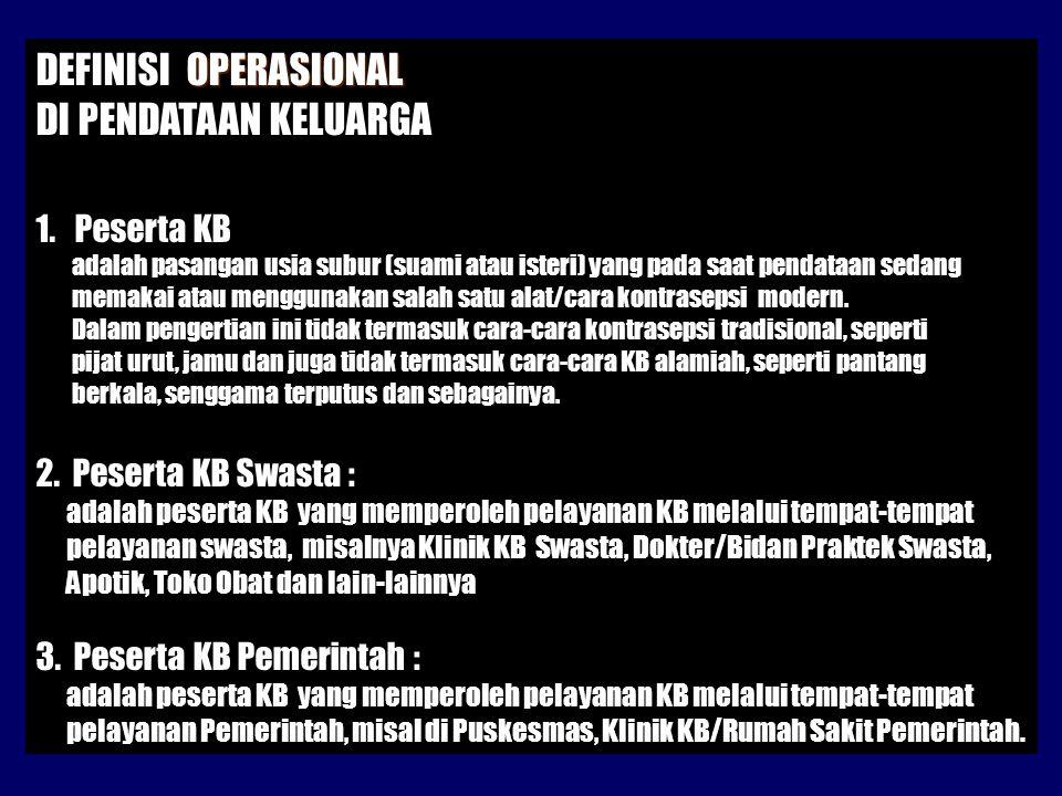 OPERASIONAL DEFINISI OPERASIONAL DI PENDATAAN KELUARGA 1.