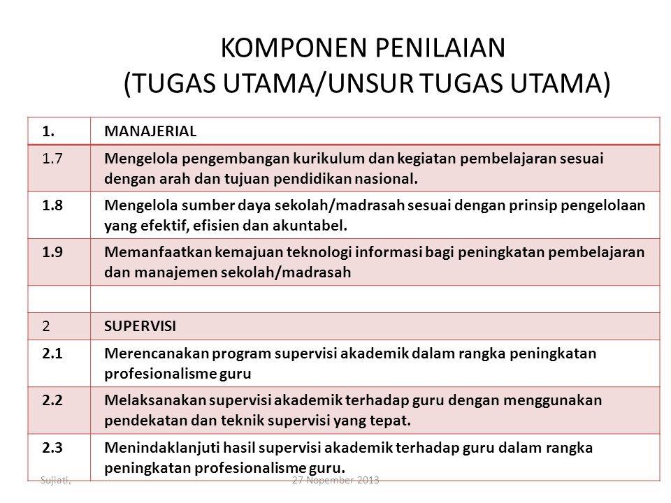 KOMPONEN PENILAIAN (TUGAS UTAMA/UNSUR TUGAS UTAMA) 1.MANAJERIAL 1.7Mengelola pengembangan kurikulum dan kegiatan pembelajaran sesuai dengan arah dan tujuan pendidikan nasional.