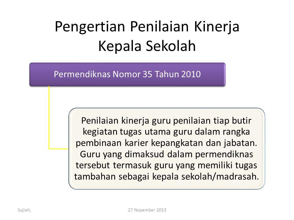 Pengertian Penilaian Kinerja Kepala Sekolah Permendiknas Nomor 35 Tahun 2010 Penilaian kinerja guru penilaian tiap butir kegiatan tugas utama guru dalam rangka pembinaan karier kepangkatan dan jabatan.