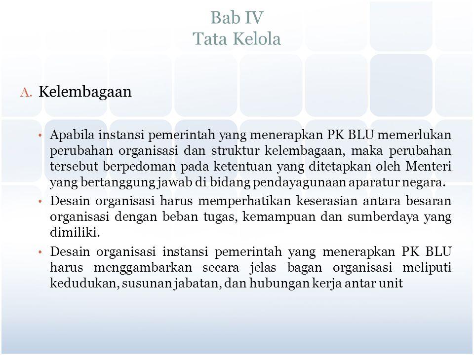 Bab IV Tata Kelola A. Kelembagaan Apabila instansi pemerintah yang menerapkan PK BLU memerlukan perubahan organisasi dan struktur kelembagaan, maka pe