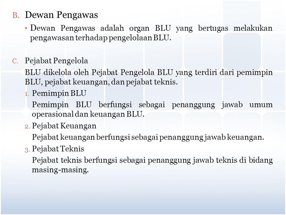 B. Dewan Pengawas D ewan Pengawas adalah organ BLU yang bertugas melakukan pengawasan terhadap pengelolaan BLU. C. Pejabat Pengelola BLU dikelola oleh