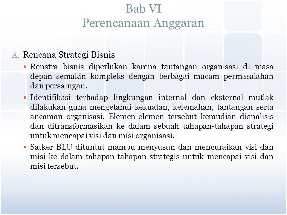 Bab VI Perencanaan Anggaran A. Rencana Strategi Bisnis Renstra bisnis diperlukan karena tantangan organisasi di masa depan semakin kompleks dengan ber