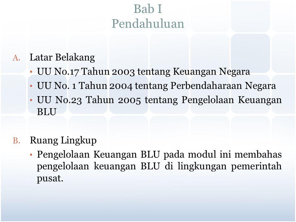 Bab I Pendahuluan A. Latar Belakang UU No.17 Tahun 2003 tentang Keuangan Negara UU No. 1 Tahun 2004 tentang Perbendaharaan Negara UU No.23 Tahun 2005