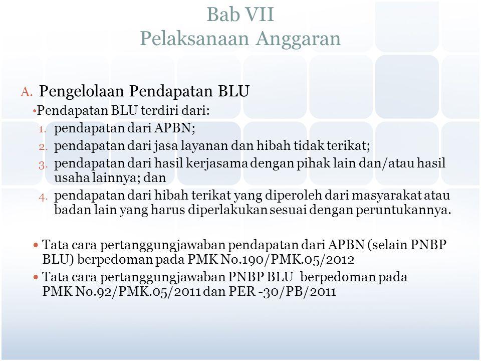 Bab VII Pelaksanaan Anggaran A. Pengelolaan Pendapatan BLU Pendapatan BLU terdiri dari: 1. pendapatan dari APBN; 2. pendapatan dari jasa layanan dan h