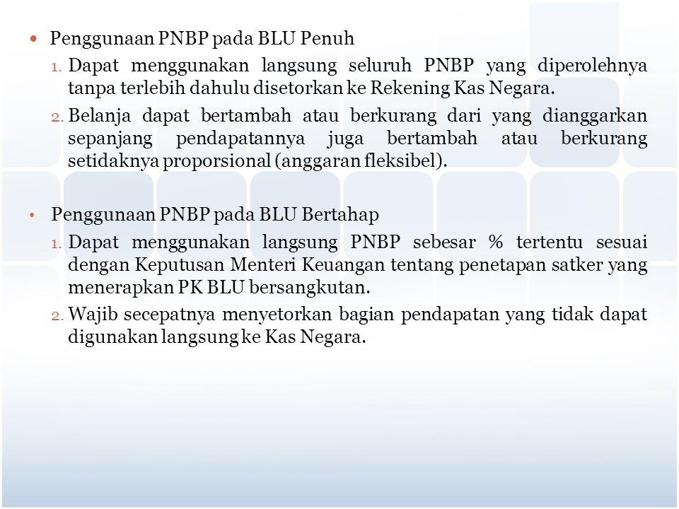 Penggunaan PNBP pada BLU Penuh 1. Dapat menggunakan langsung seluruh PNBP yang diperolehnya tanpa terlebih dahulu disetorkan ke Rekening Kas Negara. 2