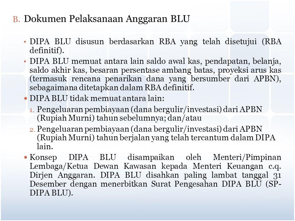 B. Dokumen Pelaksanaan Anggaran BLU DIPA BLU disusun berdasarkan RBA yang telah disetujui (RBA definitif). DIPA BLU memuat antara lain saldo awal kas,