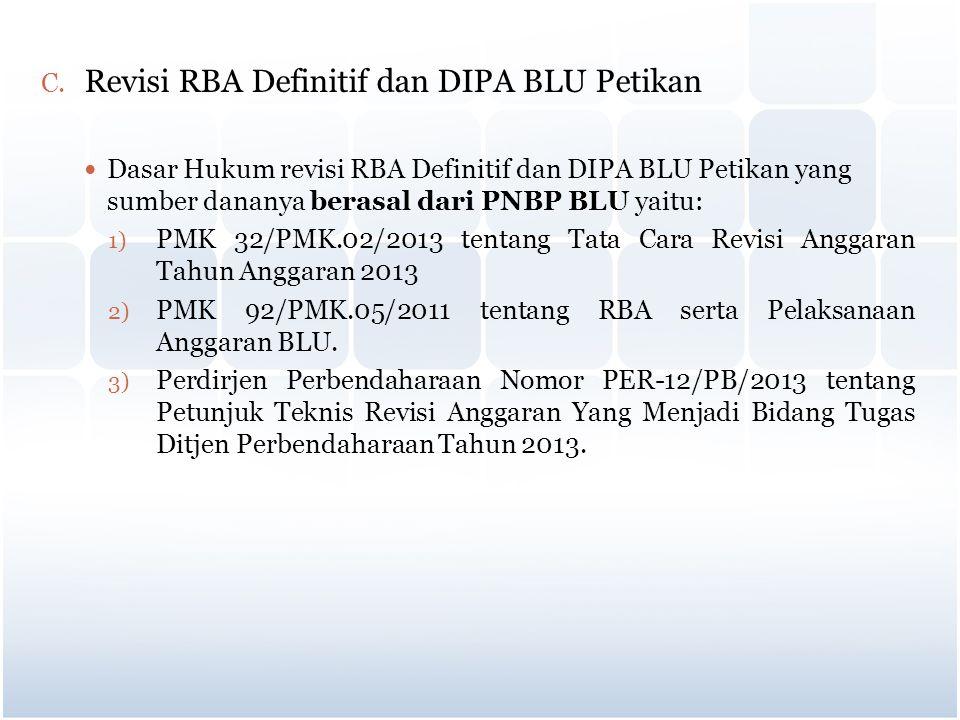 C. Revisi RBA Definitif dan DIPA BLU Petikan Dasar Hukum revisi RBA Definitif dan DIPA BLU Petikan yang sumber dananya berasal dari PNBP BLU yaitu: 1)