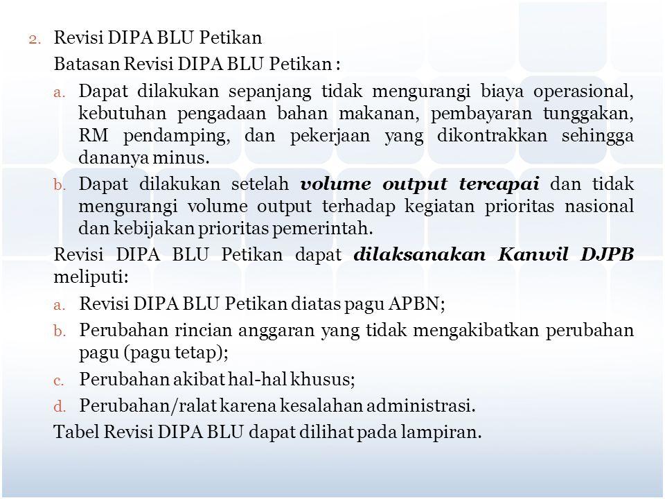 2. Revisi DIPA BLU Petikan Batasan Revisi DIPA BLU Petikan : a. Dapat dilakukan sepanjang tidak mengurangi biaya operasional, kebutuhan pengadaan baha